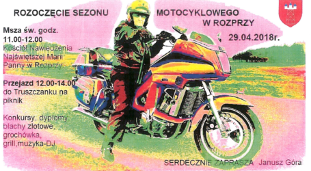 W niedzielę rozpoczęcie sezonu motocyklowego w Rozprzy