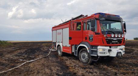 Ponad 20 zastępów strażaków walczy z pożarami na polach powiatu