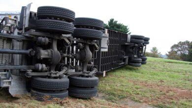 Photo of Ciężarówka przewróciła się na A1