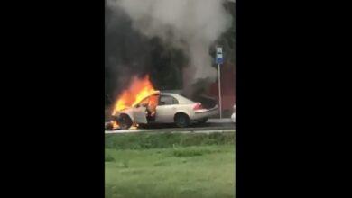 Photo of W Bujnach spłonął osobowy ford. Pożar skutkiem kolizji – FILM, ZDJĘCIA