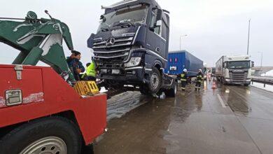 Photo of Zderzenie trzech ciężarówek w Polichnie