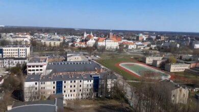 Photo of Panorama Piotrkowa z kosza nowej drabiny strażackiej – FILM