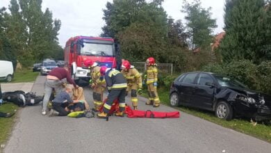 Photo of Wypadek w Kolonii Witów. Ranny motocyklista i kierująca osobówką