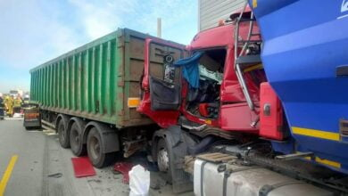 Photo of A1 zablokowana po zderzeniu 3 ciężarówek